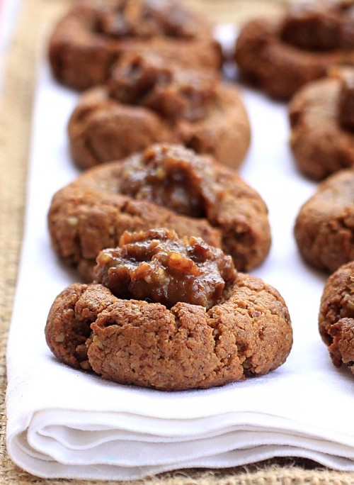 Gingerbread-Thumbprint-Cookies-with-Rum-Raisin-Caramel
